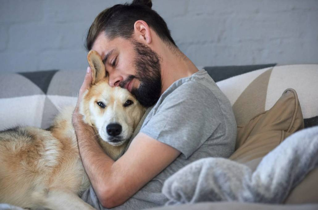 world of dog ownership, man cuddle with puppy training a puppy